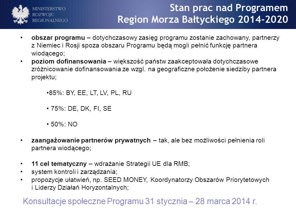 obszar programu – dotychczasowy zasięg programu zostanie zachowany, partnerzy z Niemiec i Rosji spoza obszaru Programu będą mogli pełnić funkcję partn