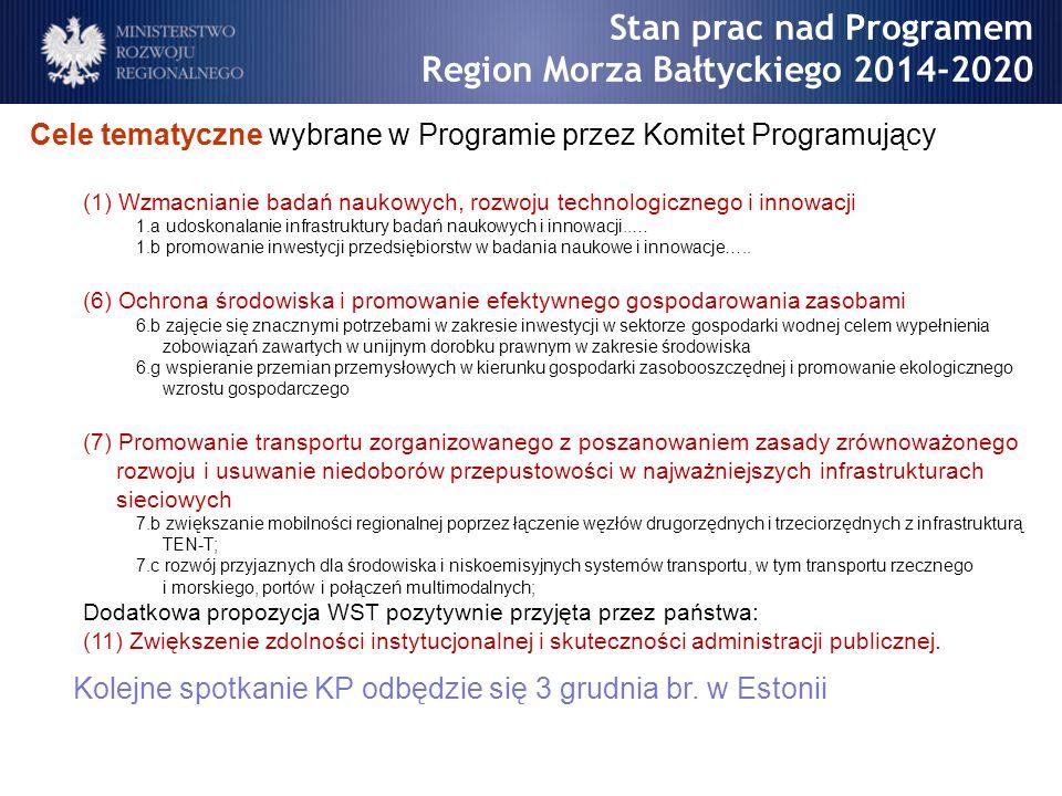 Cele tematyczne wybrane w Programie przez Komitet Programujący (1) Wzmacnianie badań naukowych, rozwoju technologicznego i innowacji 1.a udoskonalanie