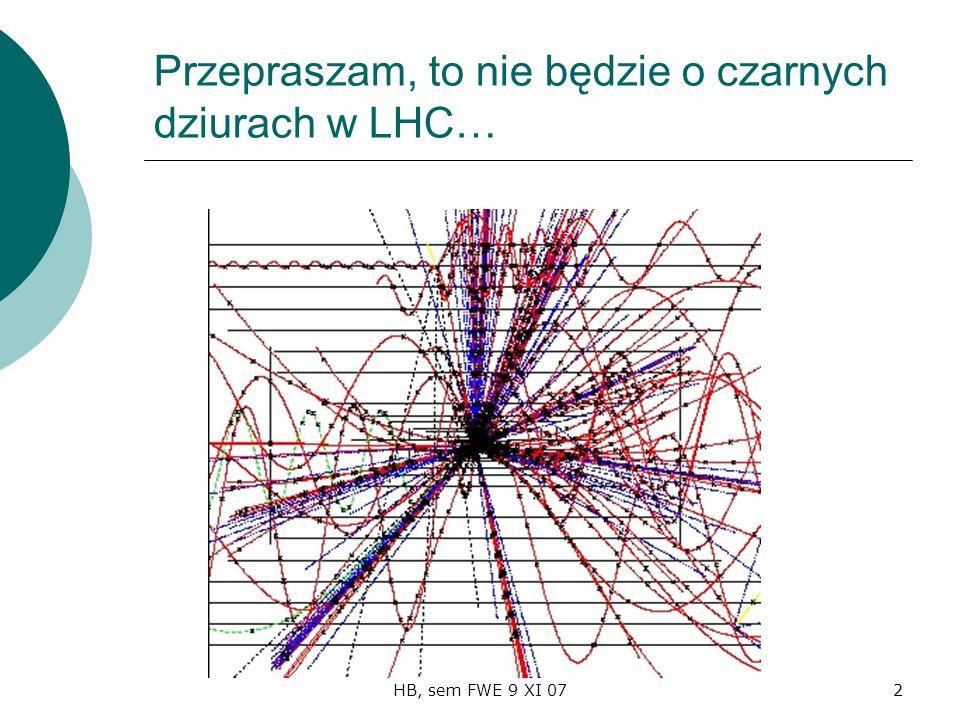 HB, sem FWE 9 XI 072 Przepraszam, to nie będzie o czarnych dziurach w LHC…