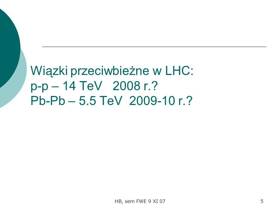 HB, sem FWE 9 XI 075 Wiązki przeciwbieżne w LHC: p-p – 14 TeV 2008 r. Pb-Pb – 5.5 TeV 2009-10 r.