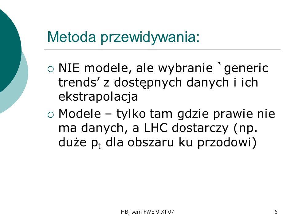 HB, sem FWE 9 XI 076 Metoda przewidywania: NIE modele, ale wybranie `generic trends z dostępnych danych i ich ekstrapolacja Modele – tylko tam gdzie prawie nie ma danych, a LHC dostarczy (np.