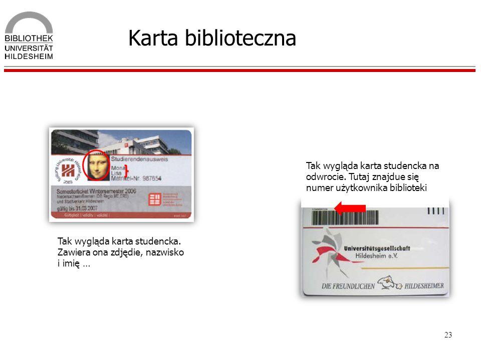 23 Karta biblioteczna Tak wygląda karta studencka na odwrocie. Tutaj znajdue się numer użytkownika biblioteki Tak wygląda karta studencka. Zawiera ona