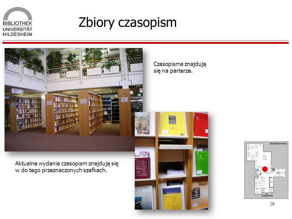26 Zbiory czasopism Czasopisma znajdują się na parterze. Aktualne wydania czasopism znajdują się w do tego przeznaczonych szafkach.