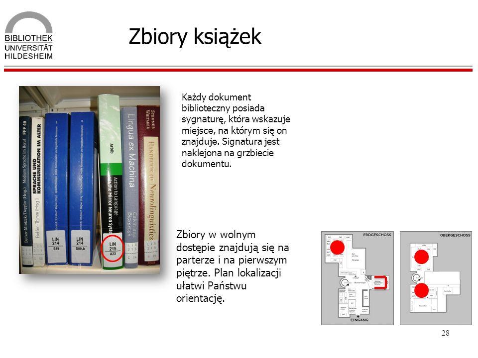 28 Zbiory książek Każdy dokument biblioteczny posiada sygnaturę, która wskazuje miejsce, na którym się on znajduje. Signatura jest naklejona na grzbie