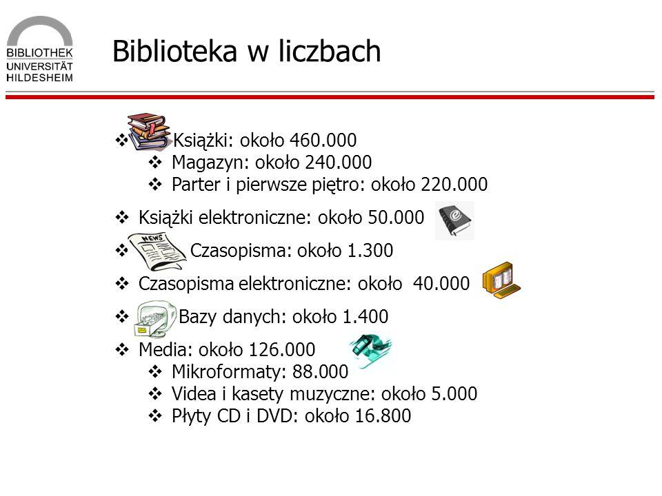 Biblioteka w liczbach Książki: około 460.000 Magazyn: około 240.000 Parter i pierwsze piętro: około 220.000 Książki elektroniczne: około 50.000 Czasop