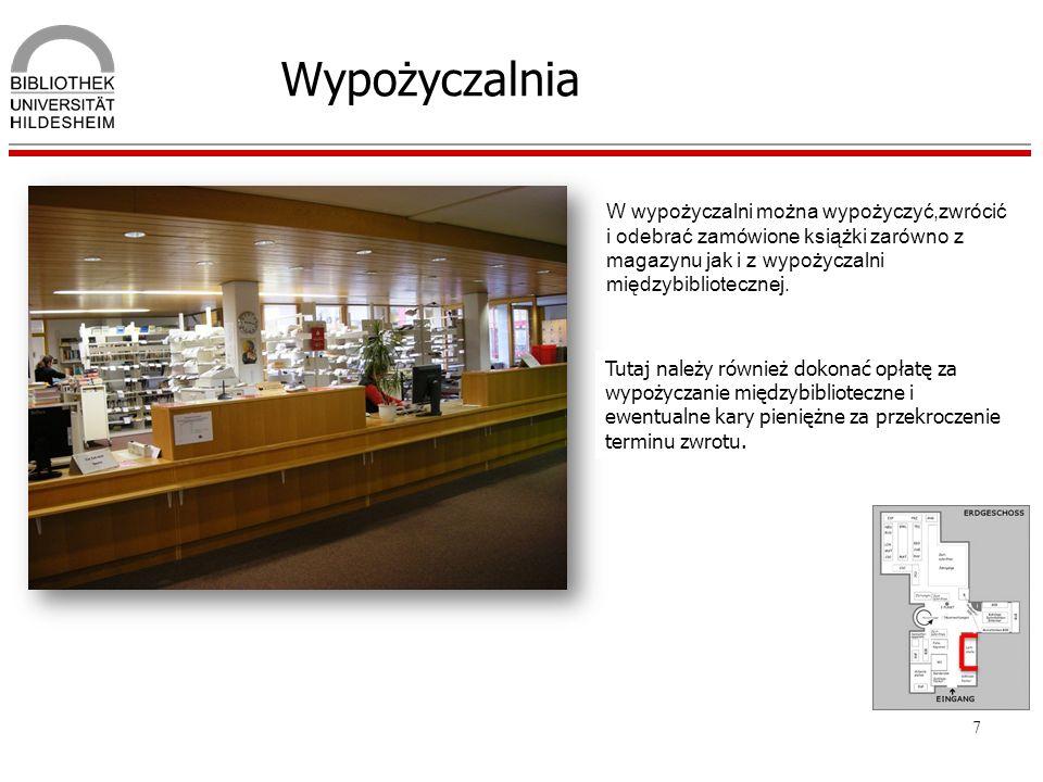 7 Wypożyczalnia W wypożyczalni można wypożyczyć,zwrócić i odebrać zamówione książki zarówno z magazynu jak i z wypożyczalni międzybibliotecznej. Tutaj
