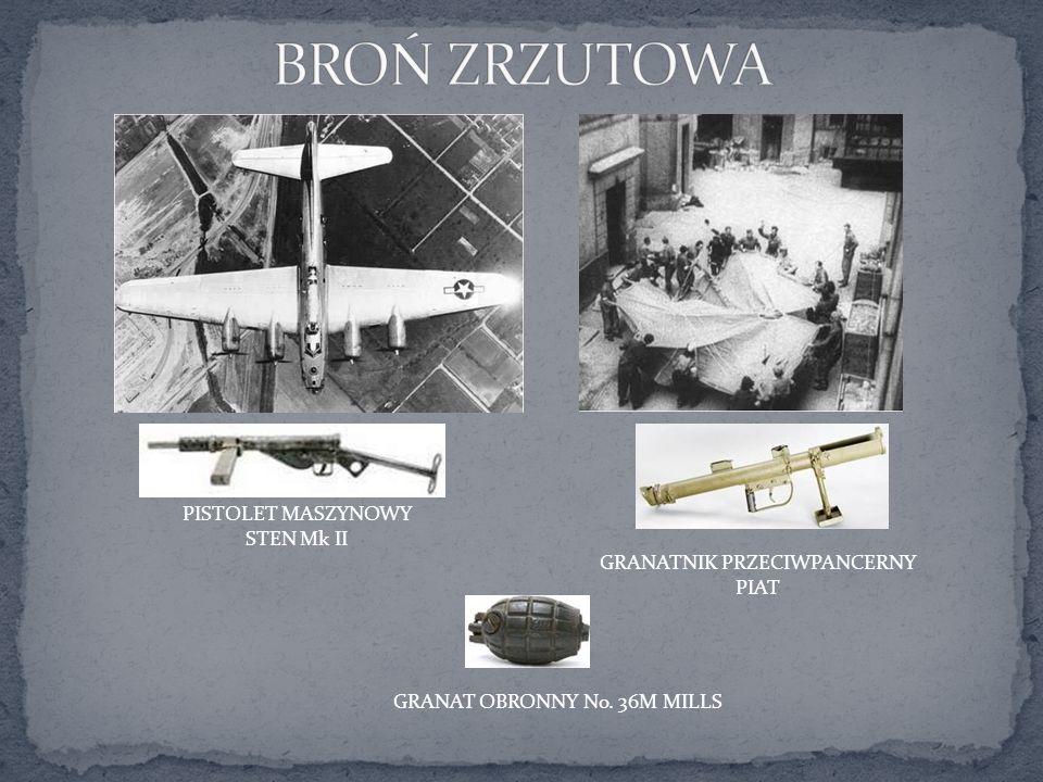 PISTOLET MASZYNOWY STEN Mk II GRANATNIK PRZECIWPANCERNY PIAT GRANAT OBRONNY No. 36M MILLS