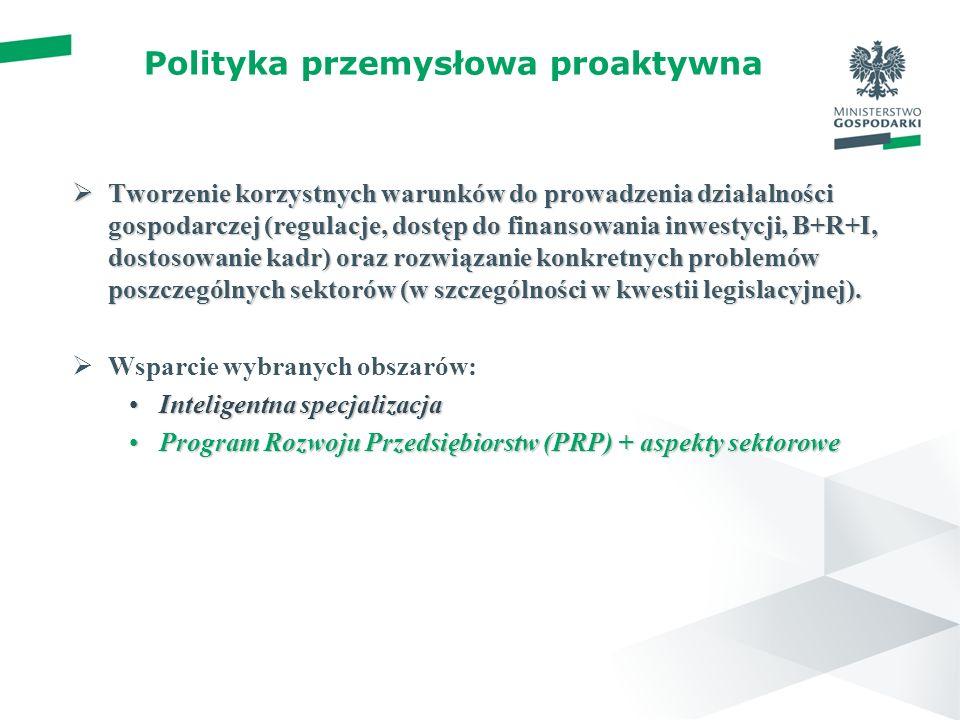 Polityka przemysłowa proaktywna Tworzenie korzystnych warunków do prowadzenia działalności gospodarczej (regulacje, dostęp do finansowania inwestycji, B+R+I, dostosowanie kadr) oraz rozwiązanie konkretnych problemów poszczególnych sektorów (w szczególności w kwestii legislacyjnej).