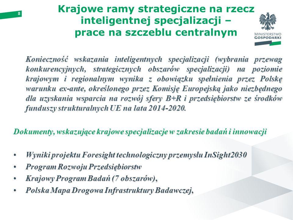 8 Krajowe ramy strategiczne na rzecz inteligentnej specjalizacji – prace na szczeblu centralnym Konieczność wskazania inteligentnych specjalizacji (wybrania przewag konkurencyjnych, strategicznych obszarów specjalizacji) na poziomie krajowym i regionalnym wynika z obowiązku spełnienia przez Polskę warunku ex-ante, określonego przez Komisję Europejską jako niezbędnego dla uzyskania wsparcia na rozwój sfery B+R i przedsiębiorstw ze środków funduszy strukturalnych UE na lata 2014-2020.