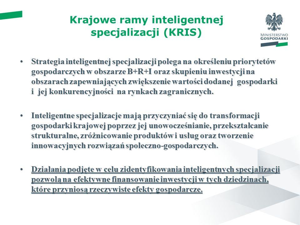 Krajowe ramy inteligentnej specjalizacji (KRIS) Strategia inteligentnej specjalizacji polega na określeniu priorytetów gospodarczych w obszarze B+R+I oraz skupieniu inwestycji na obszarach zapewniających zwiększenie wartości dodanej gospodarki i jej konkurencyjności na rynkach zagranicznych.Strategia inteligentnej specjalizacji polega na określeniu priorytetów gospodarczych w obszarze B+R+I oraz skupieniu inwestycji na obszarach zapewniających zwiększenie wartości dodanej gospodarki i jej konkurencyjności na rynkach zagranicznych.