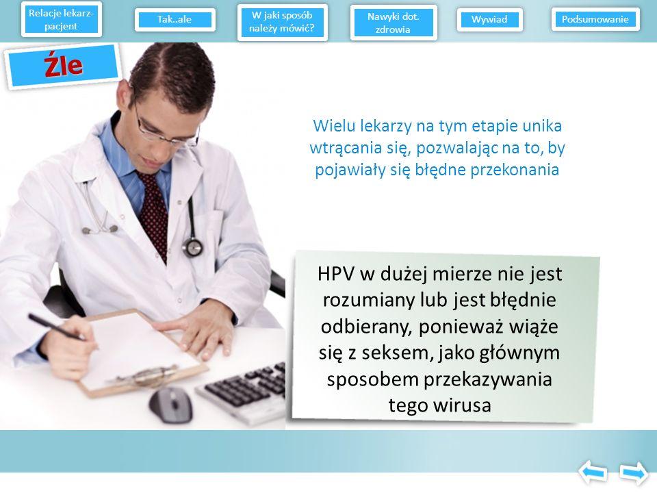Źle Nie chcę dowiedzieć się, że mam HPV, mój parter będzie na mnie zły, będę mieć problemy Relacje lekarz- pacjent W jaki sposób należy mówić? Nawyki