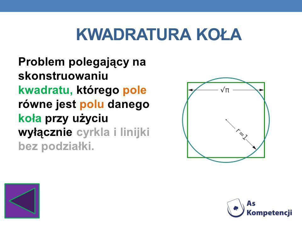 KWADRATURA KOŁA Problem polegający na skonstruowaniu kwadratu, którego pole równe jest polu danego koła przy użyciu wyłącznie cyrkla i linijki bez pod