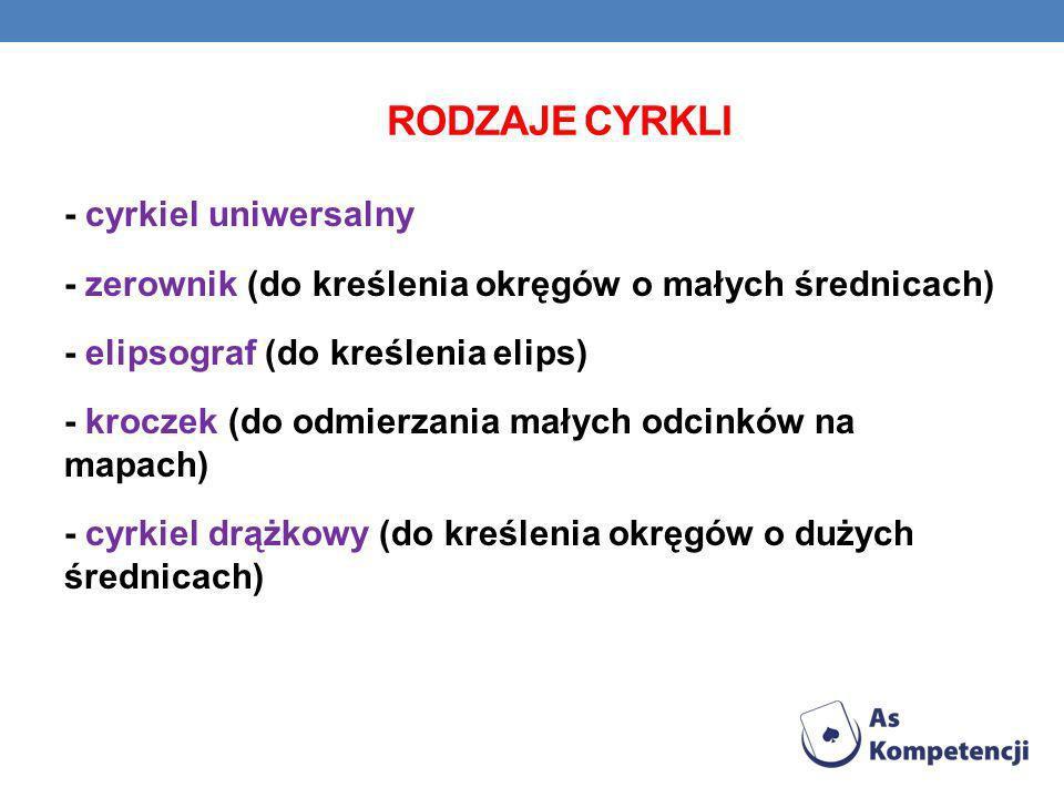 RODZAJE CYRKLI - cyrkiel uniwersalny - zerownik (do kreślenia okręgów o małych średnicach) - elipsograf (do kreślenia elips) - kroczek (do odmierzania