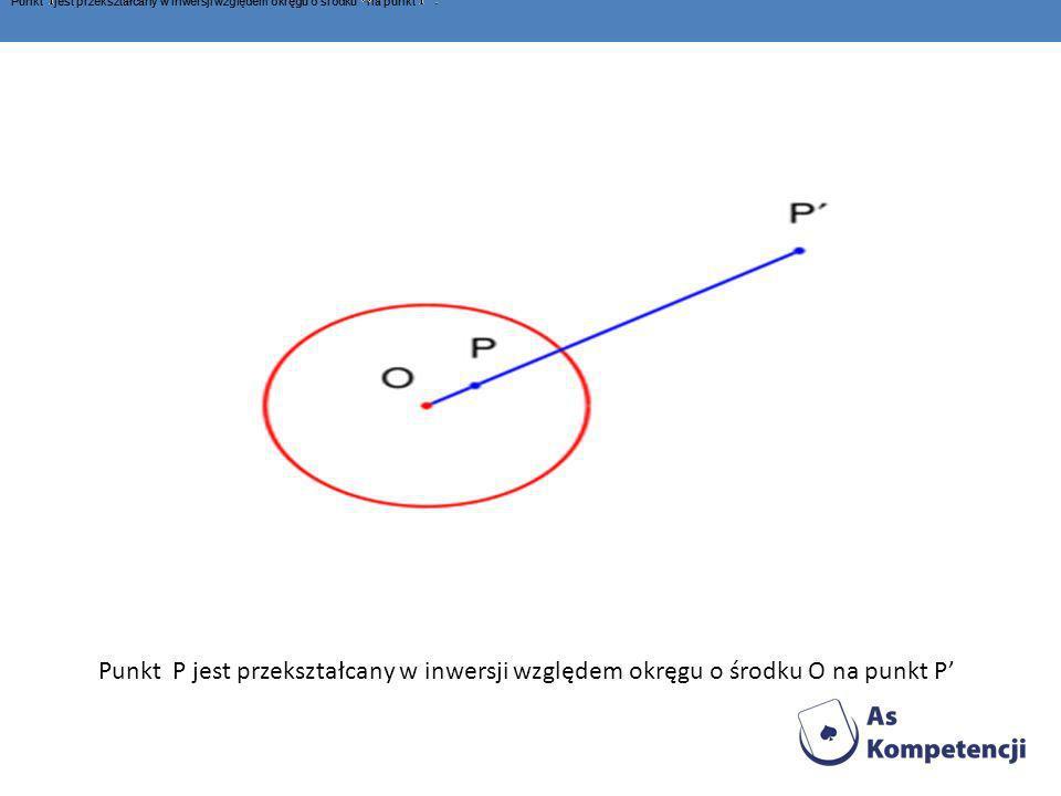 Punkt P jest przekształcany w inwersji względem okręgu o środku O na punkt P Punkt jest przekształcany w inwersji względem okręgu o środku na punkt