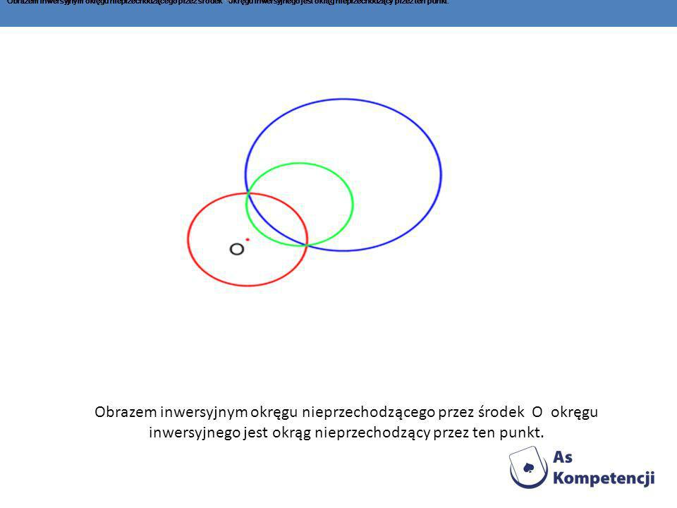Obrazem inwersyjnym okręgu nieprzechodzącego przez środek okręgu inwersyjnego jest okrąg nieprzechodzący przez ten punkt. Obrazem inwersyjnym okręgu n