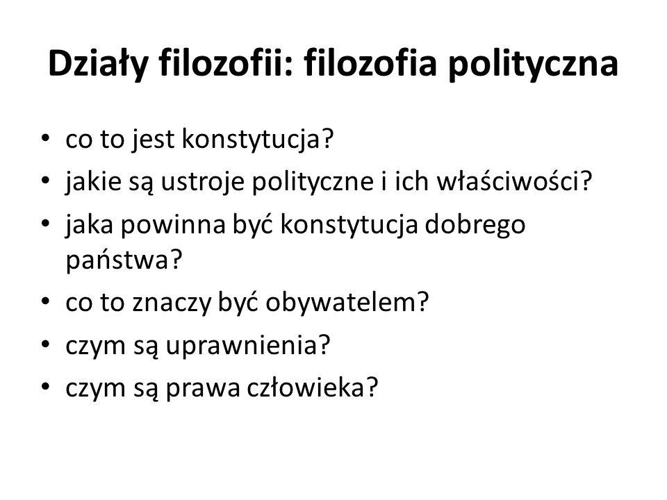 Działy filozofii: filozofia polityczna co to jest konstytucja? jakie są ustroje polityczne i ich właściwości? jaka powinna być konstytucja dobrego pań