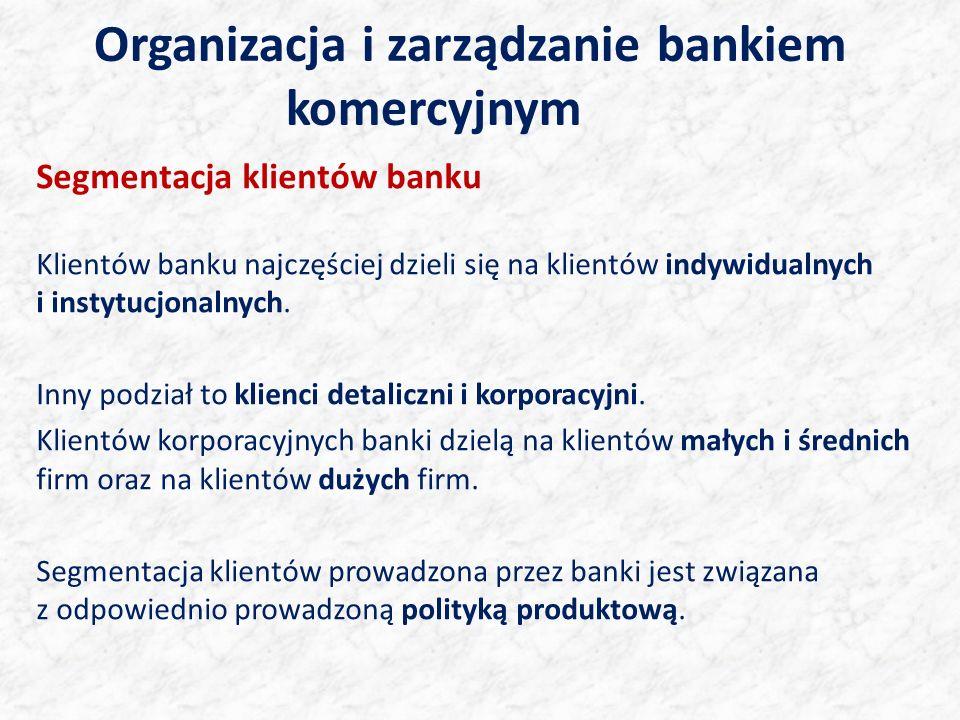 Organizacja i zarządzanie bankiem komercyjnym Segmentacja klientów banku Klientów banku najczęściej dzieli się na klientów indywidualnych i instytucjonalnych.