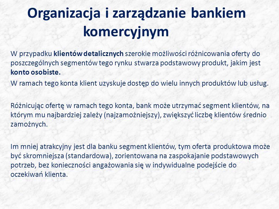Organizacja i zarządzanie bankiem komercyjnym W przypadku klientów detalicznych szerokie możliwości różnicowania oferty do poszczególnych segmentów tego rynku stwarza podstawowy produkt, jakim jest konto osobiste.
