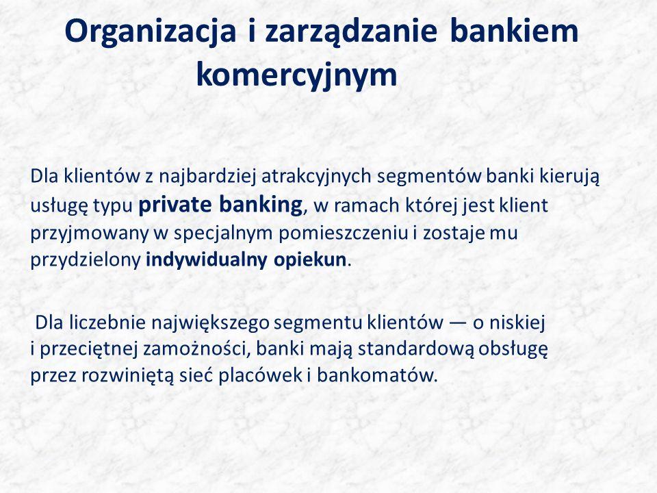 Organizacja i zarządzanie bankiem komercyjnym Dla klientów z najbardziej atrakcyjnych segmentów banki kierują usługę typu private banking, w ramach której jest klient przyjmowany w specjalnym pomieszczeniu i zostaje mu przydzielony indywidualny opiekun.