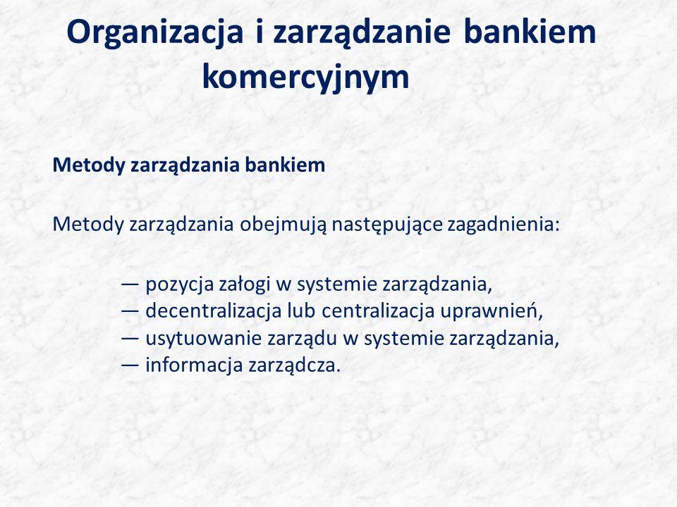 Organizacja i zarządzanie bankiem komercyjnym Metody zarządzania bankiem Metody zarządzania obejmują następujące zagadnienia: pozycja załogi w systemi