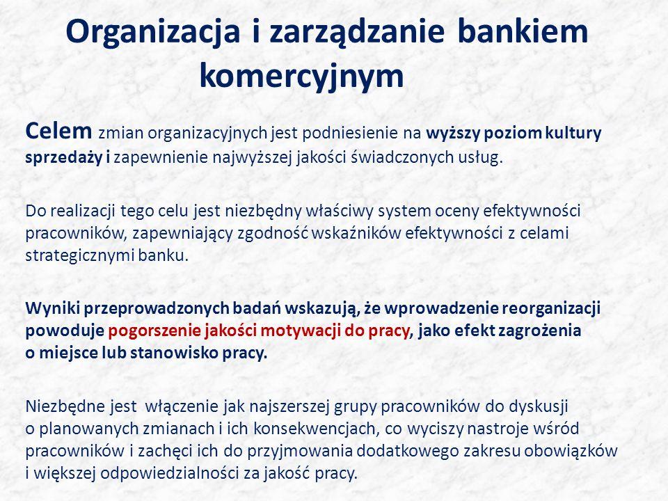 Organizacja i zarządzanie bankiem komercyjnym Celem zmian organizacyjnych jest podniesienie na wyższy poziom kultury sprzedaży i zapewnienie najwyższej jakości świadczonych usług.