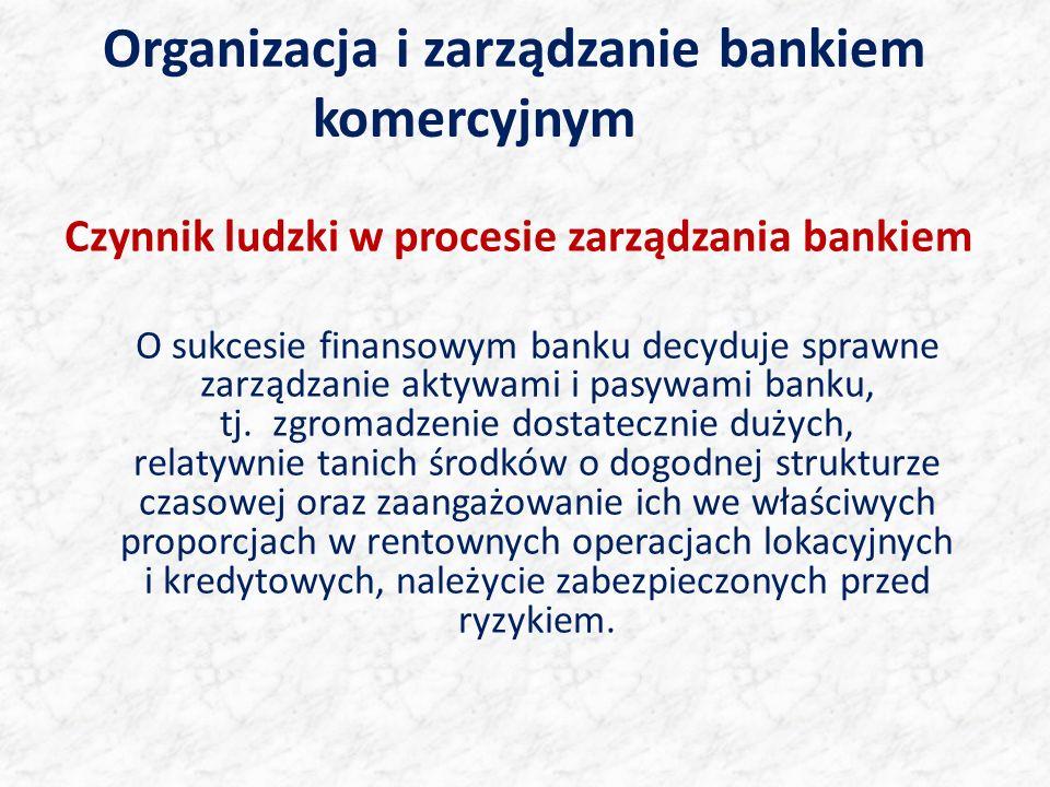Organizacja i zarządzanie bankiem komercyjnym Czynnik ludzki w procesie zarządzania bankiem O sukcesie finansowym banku decyduje sprawne zarządzanie aktywami i pasywami banku, tj.