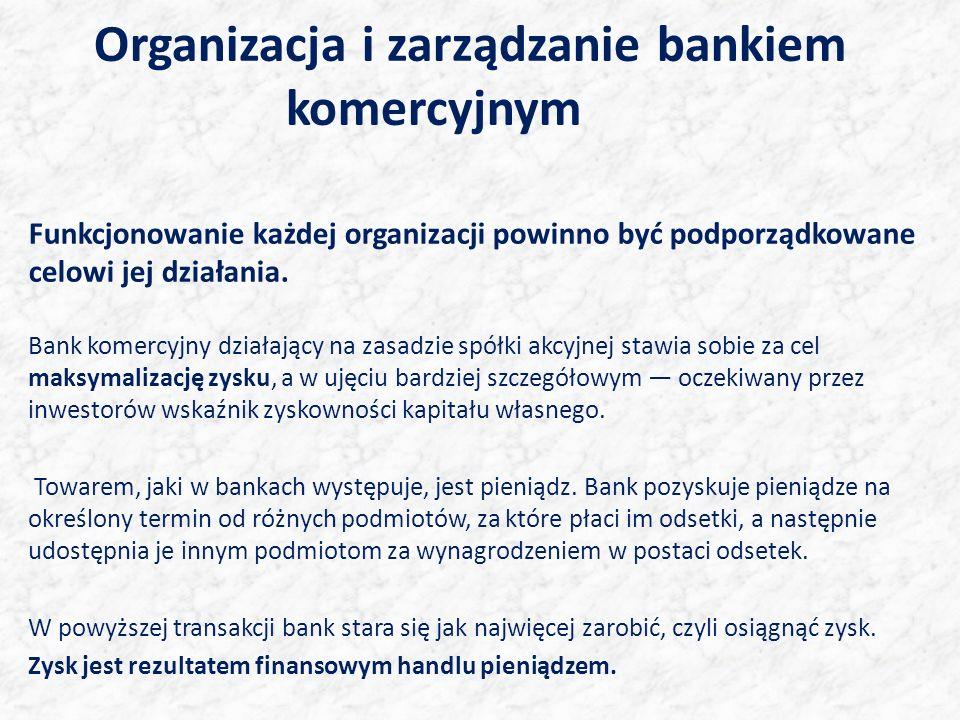 Organizacja i zarządzanie bankiem komercyjnym Funkcjonowanie każdej organizacji powinno być podporządkowane celowi jej działania. Bank komercyjny dzia