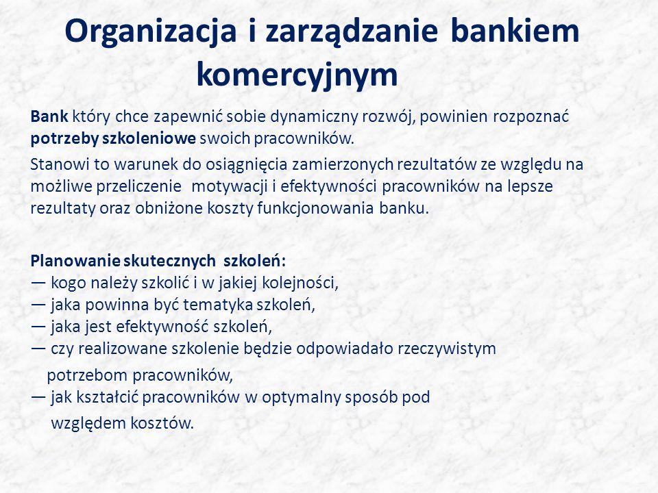Organizacja i zarządzanie bankiem komercyjnym Bank który chce zapewnić sobie dynamiczny rozwój, powinien rozpoznać potrzeby szkoleniowe swoich pracowników.