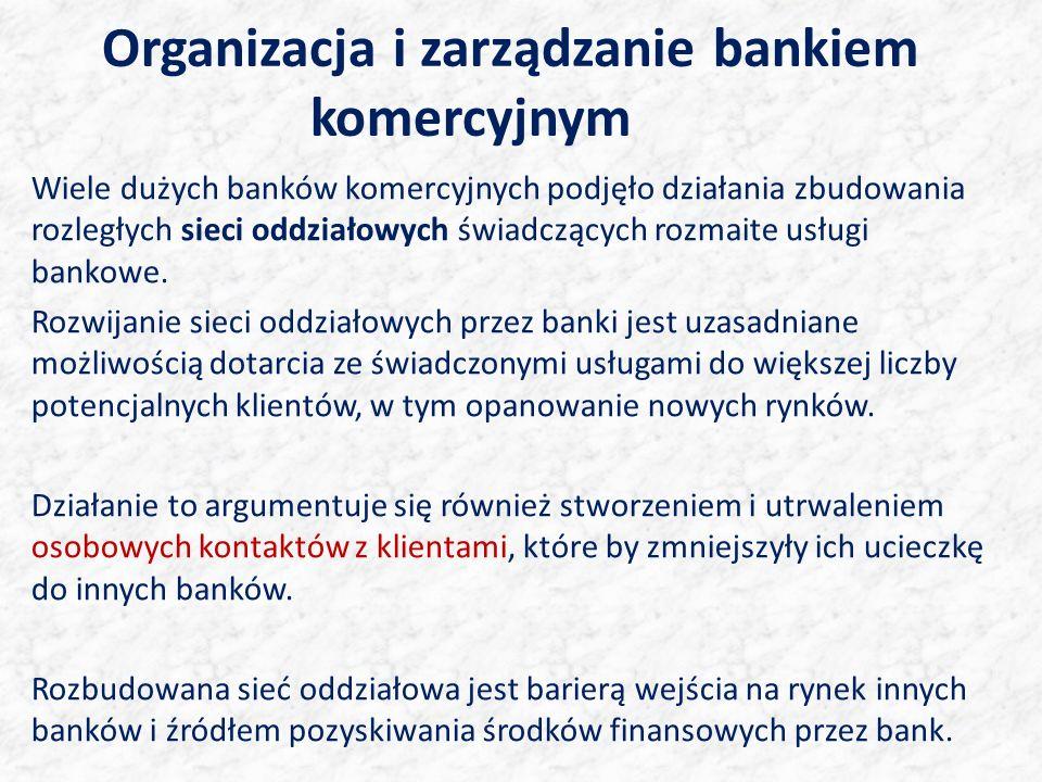 Organizacja i zarządzanie bankiem komercyjnym Wiele dużych banków komercyjnych podjęło działania zbudowania rozległych sieci oddziałowych świadczących rozmaite usługi bankowe.