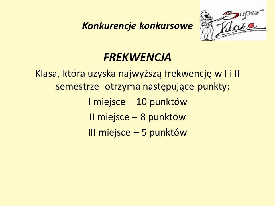 Konkurencje konkursowe FREKWENCJA Klasa, która uzyska najwyższą frekwencję w I i II semestrze otrzyma następujące punkty: I miejsce – 10 punktów II mi