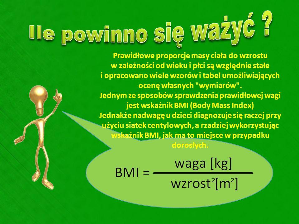 Prawidłowe proporcje masy ciała do wzrostu w zależności od wieku i płci są względnie stałe i opracowano wiele wzorów i tabel umożliwiających ocenę wła