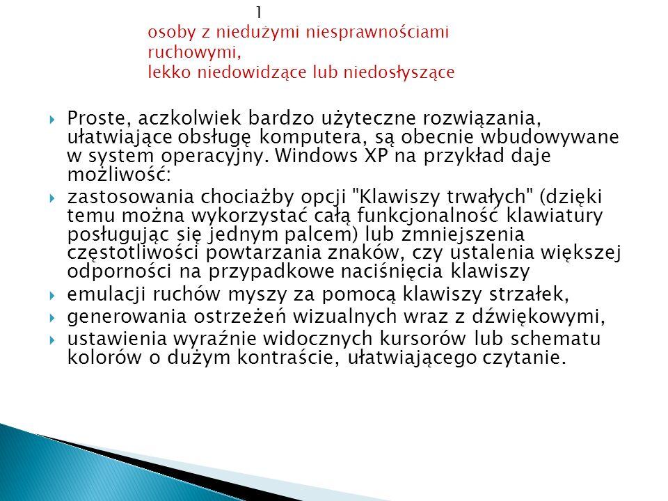 Proste, aczkolwiek bardzo użyteczne rozwiązania, ułatwiające obsługę komputera, są obecnie wbudowywane w system operacyjny. Windows XP na przykład daj