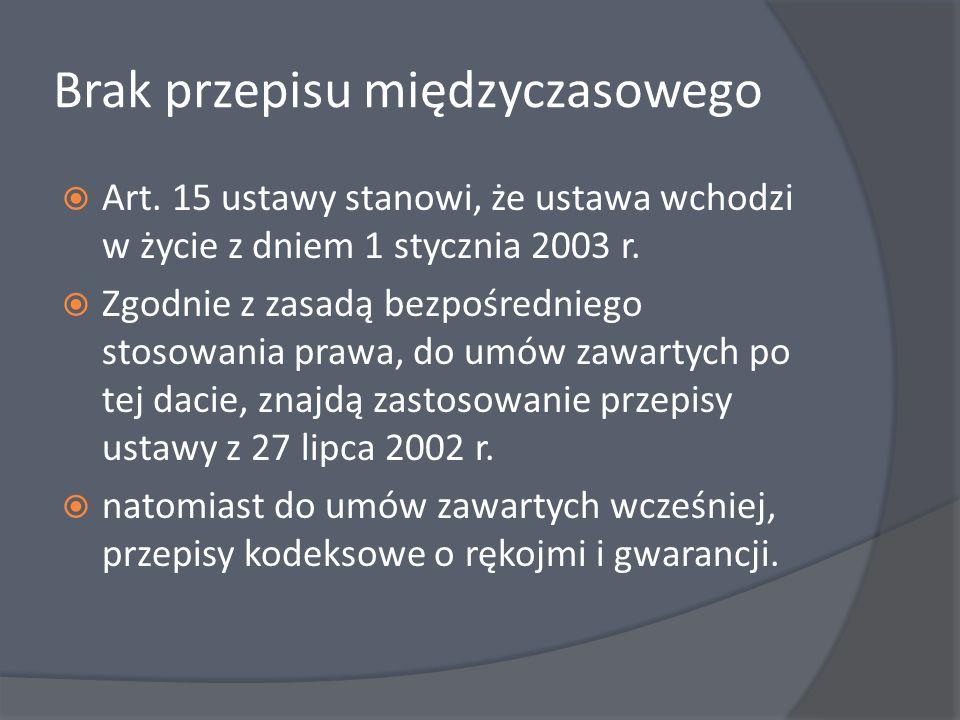 Brak przepisu międzyczasowego Art. 15 ustawy stanowi, że ustawa wchodzi w życie z dniem 1 stycznia 2003 r. Zgodnie z zasadą bezpośredniego stosowania