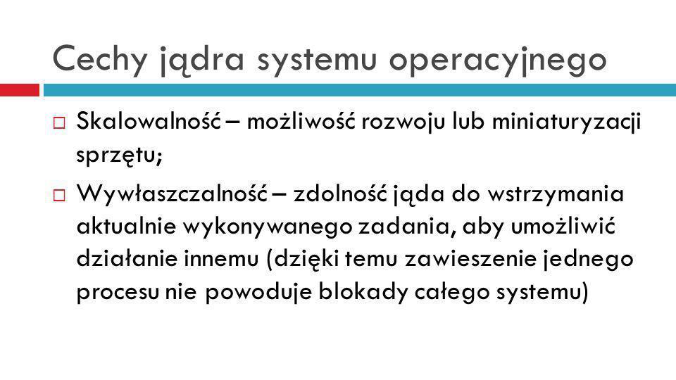 Cechy jądra systemu operacyjnego Skalowalność – możliwość rozwoju lub miniaturyzacji sprzętu; Wywłaszczalność – zdolność jąda do wstrzymania aktualnie wykonywanego zadania, aby umożliwić działanie innemu (dzięki temu zawieszenie jednego procesu nie powoduje blokady całego systemu)