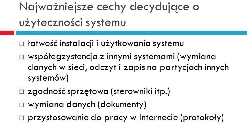 Najważniejsze cechy decydujące o użyteczności systemu łatwość instalacji i użytkowania systemu współegzystencja z innymi systemami (wymiana danych w sieci, odczyt i zapis na partycjach innych systemów) zgodność sprzętowa (sterowniki itp.) wymiana danych (dokumenty) przystosowanie do pracy w Internecie (protokoły)