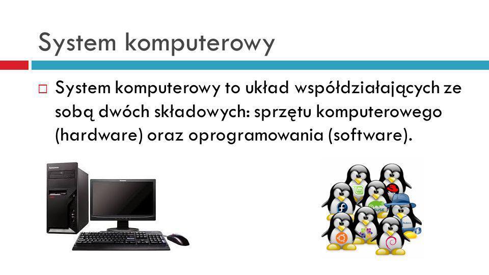 System komputerowy System komputerowy to układ współdziałających ze sobą dwóch składowych: sprzętu komputerowego (hardware) oraz oprogramowania (software).