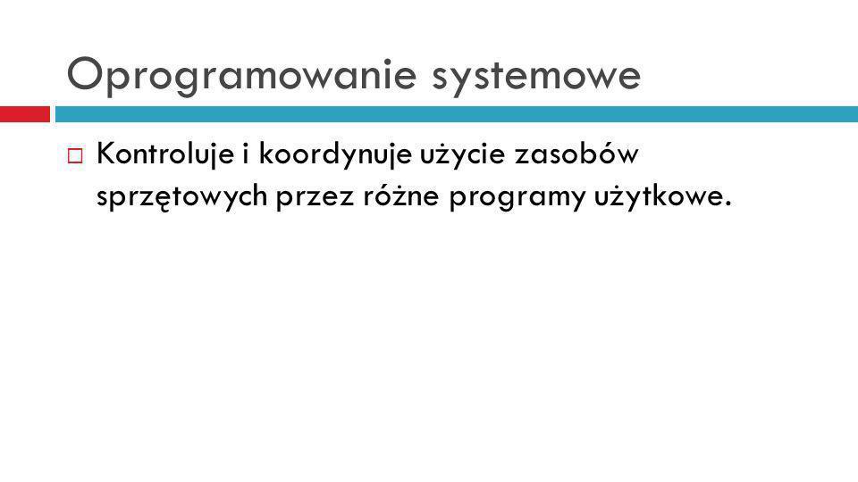 Oprogramowanie systemowe Kontroluje i koordynuje użycie zasobów sprzętowych przez różne programy użytkowe.