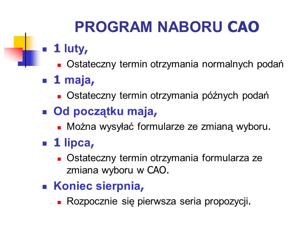 Po złożeniu Podania Otrzymasz numer CAO oraz Wykaz Wyboru Kursów – sprawdź to uważnie.