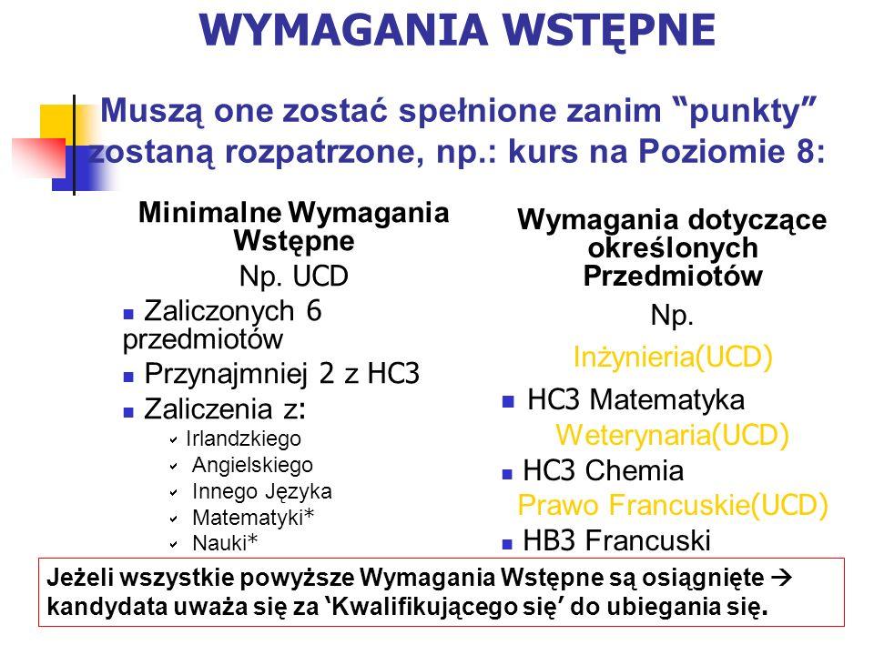 WYMAGANIA WSTĘPNE Muszą one zostać spełnione zanim punkty zostaną rozpatrzone, np.: kurs na Poziomie 8: Minimalne Wymagania Wstępne Np.