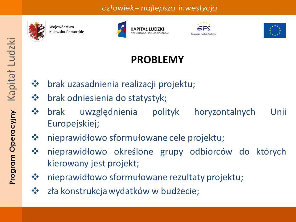 człowiek – najlepsza inwestycja Program Operacyjny Kapitał Ludzki PROBLEMY brak uzasadnienia realizacji projektu; brak odniesienia do statystyk; brak uwzględnienia polityk horyzontalnych Unii Europejskiej; nieprawidłowo sformułowane cele projektu; nieprawidłowo określone grupy odbiorców do których kierowany jest projekt; nieprawidłowo sformułowane rezultaty projektu; zła konstrukcja wydatków w budżecie; Województwo Kujawsko-Pomorskie
