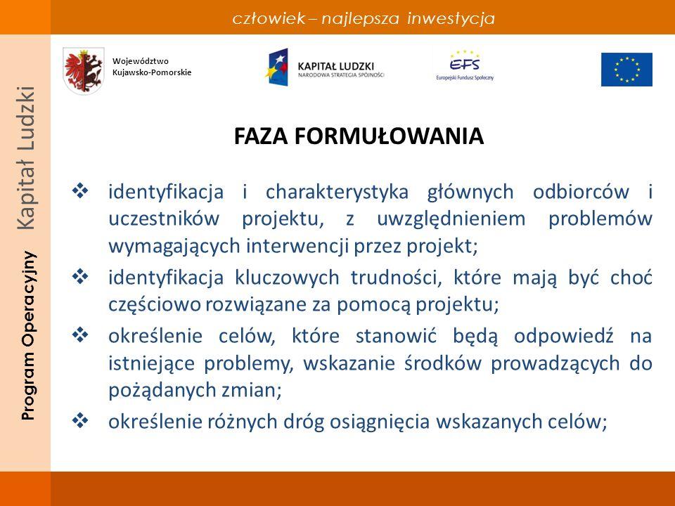 człowiek – najlepsza inwestycja Program Operacyjny Kapitał Ludzki FAZA FORMUŁOWANIA identyfikacja i charakterystyka głównych odbiorców i uczestników projektu, z uwzględnieniem problemów wymagających interwencji przez projekt; identyfikacja kluczowych trudności, które mają być choć częściowo rozwiązane za pomocą projektu; określenie celów, które stanowić będą odpowiedź na istniejące problemy, wskazanie środków prowadzących do pożądanych zmian; określenie różnych dróg osiągnięcia wskazanych celów; Województwo Kujawsko-Pomorskie