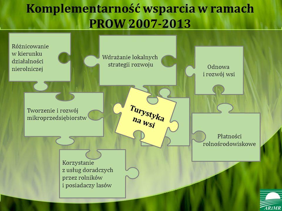 Komplementarność wsparcia w ramach PROW 2007-2013 Tworzenie i rozwój mikroprzedsiębiorstw Wdrażanie lokalnych strategii rozwoju Różnicowanie w kierunku działalności nierolniczej Korzystanie z usług doradczych przez rolników i posiadaczy lasów Odnowa i rozwój wsi Turystyka na wsi Płatności rolnośrodowiskowe