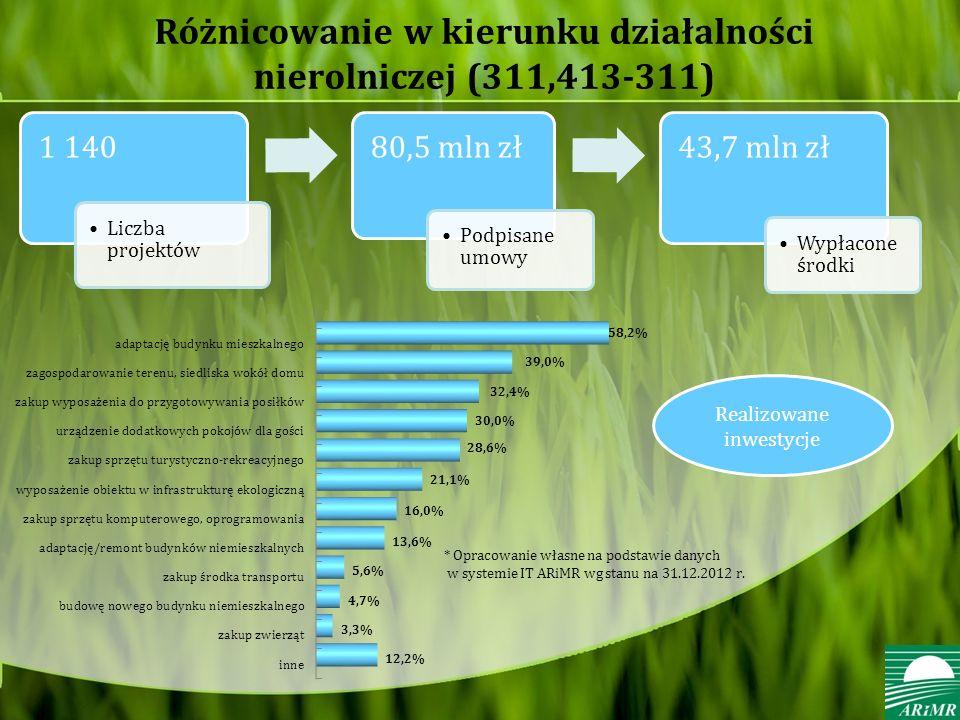 Różnicowanie w kierunku działalności nierolniczej (311,413-311) 1 140 Liczba projektów 80,5 mln zł Podpisane umowy 43,7 mln zł Wypłacone środki * Opracowanie własne na podstawie danych w systemie IT ARiMR wg stanu na 31.12.2012 r.