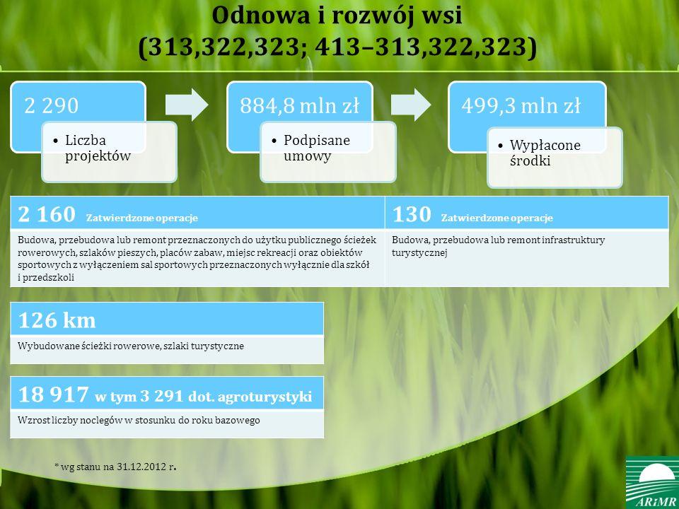 Odnowa i rozwój wsi (313,322,323; 413–313,322,323) 2 160 Zatwierdzone operacje 130 Zatwierdzone operacje Budowa, przebudowa lub remont przeznaczonych