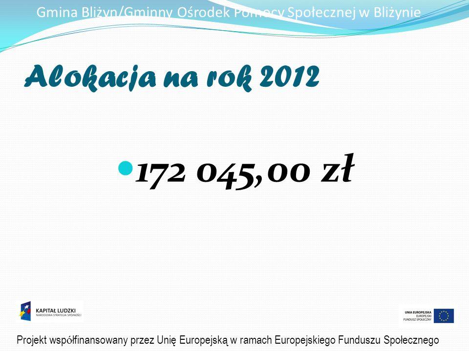 Gmina Bliżyn/Gminny Ośrodek Pomocy Społecznej w Bliżynie Alokacja na rok 2012 172 045,00 zł