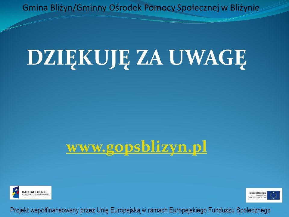 Projekt wsp ó łfinansowany przez Unię Europejską w ramach Europejskiego Funduszu Społecznego Gmina Bliżyn/Gminny Ośrodek Pomocy Społecznej w Bliżynie