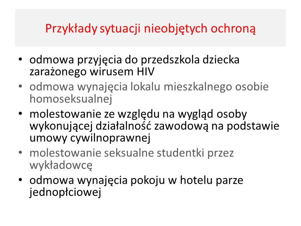 odmowa przyjęcia do przedszkola dziecka zarażonego wirusem HIV odmowa wynajęcia lokalu mieszkalnego osobie homoseksualnej molestowanie ze względu na w