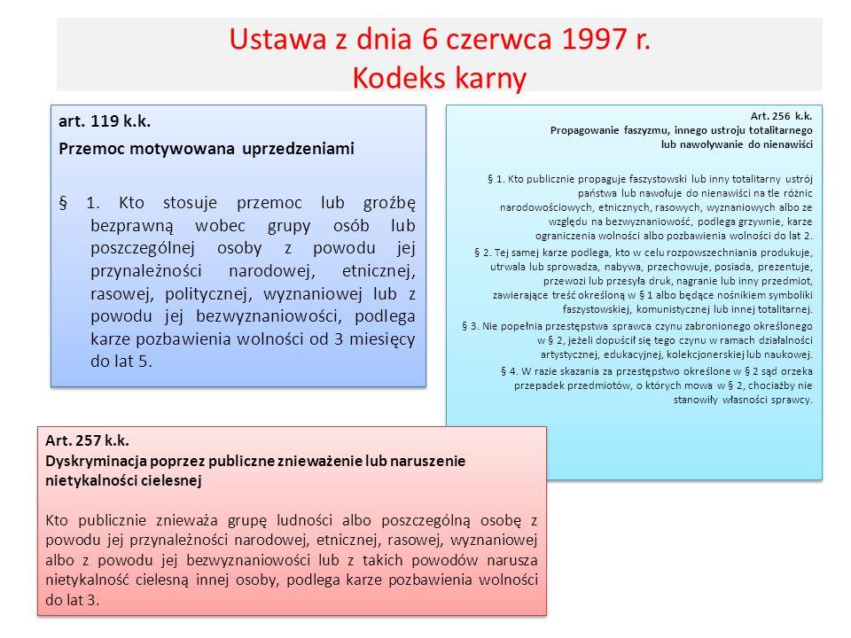 Ustawa z dnia 6 czerwca 1997 r. Kodeks karny art. 119 k.k. Przemoc motywowana uprzedzeniami § 1. Kto stosuje przemoc lub groźbę bezprawną wobec grupy