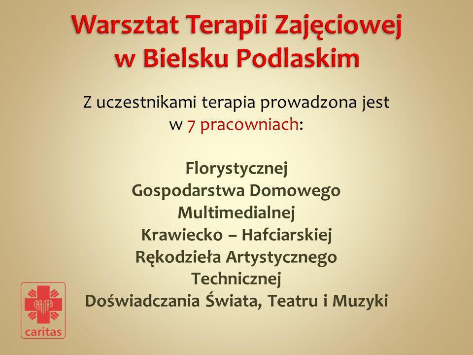 Z uczestnikami terapia prowadzona jest w 7 pracowniach: Florystycznej Gospodarstwa Domowego Multimedialnej Krawiecko – Hafciarskiej Rękodzieła Artysty