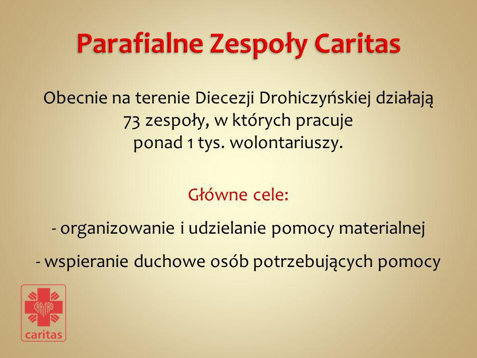 Obecnie na terenie Diecezji Drohiczyńskiej działają 73 zespoły, w których pracuje ponad 1 tys. wolontariuszy. Główne cele: - organizowanie i udzielani